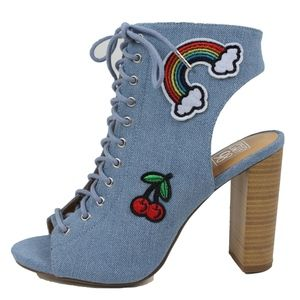 Blue Canvas Embroidery Patch Block Heel Boot